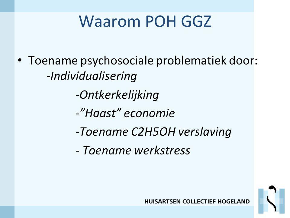 Waarom POH GGZ Toename psychosociale problematiek door: -Individualisering. -Ontkerkelijking. - Haast economie.
