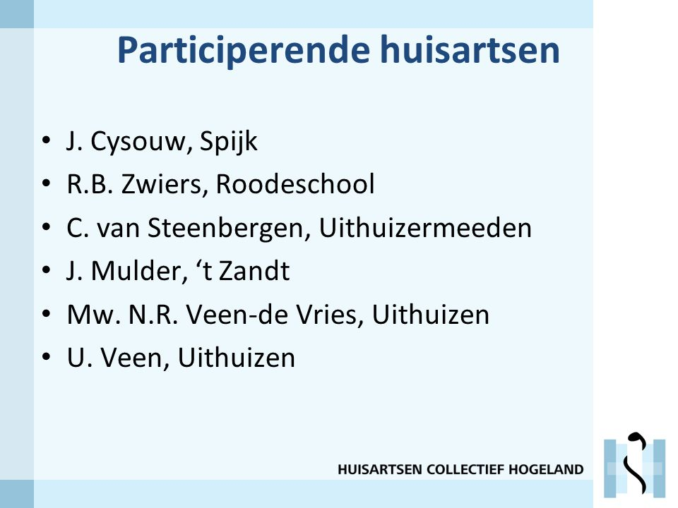 Participerende huisartsen