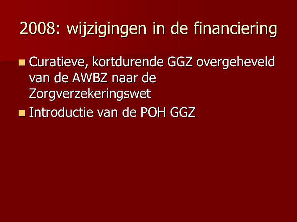 2008: wijzigingen in de financiering