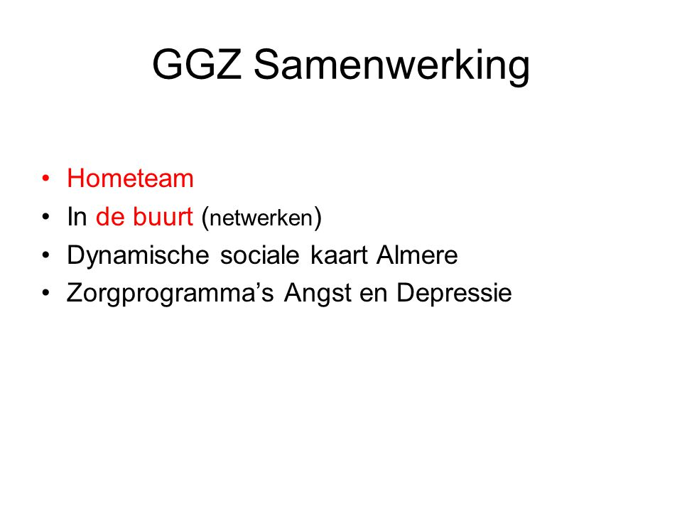 GGZ Samenwerking Hometeam In de buurt (netwerken)
