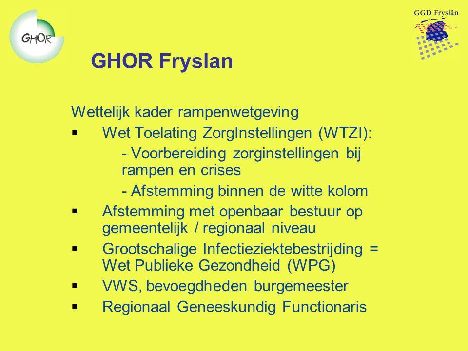 GHOR Fryslan Wettelijk kader rampenwetgeving