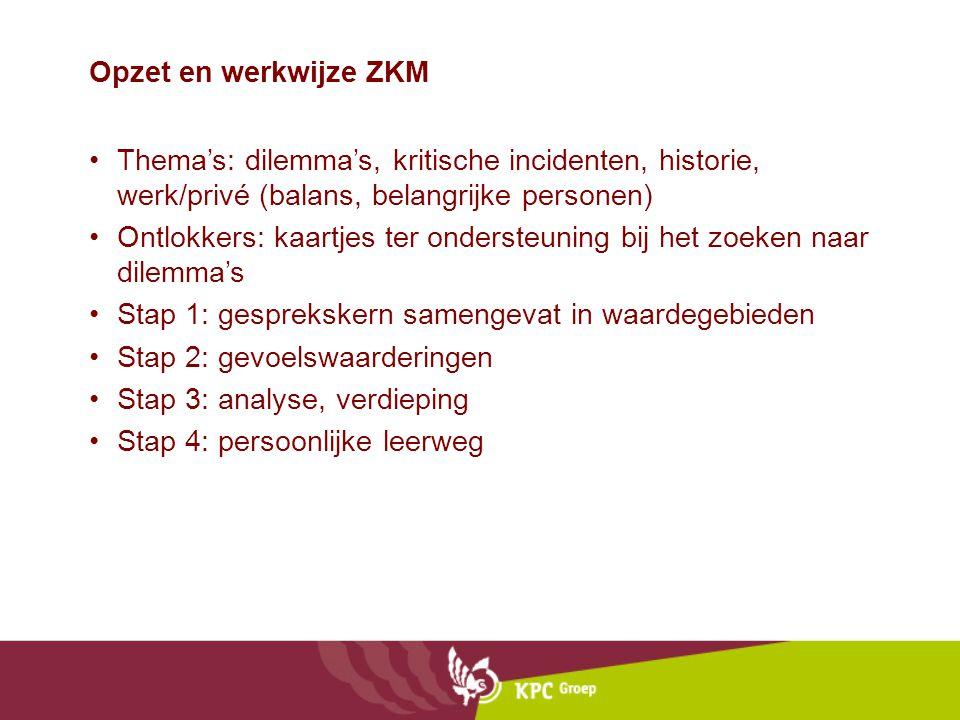 Opzet en werkwijze ZKM Thema's: dilemma's, kritische incidenten, historie, werk/privé (balans, belangrijke personen)