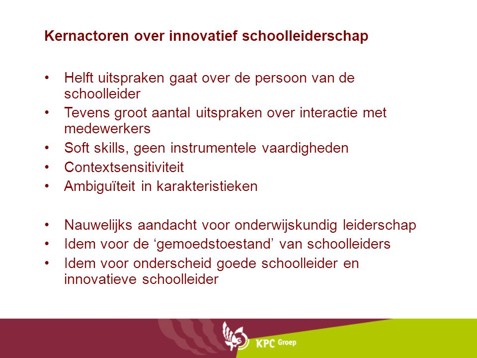Kernactoren over innovatief schoolleiderschap
