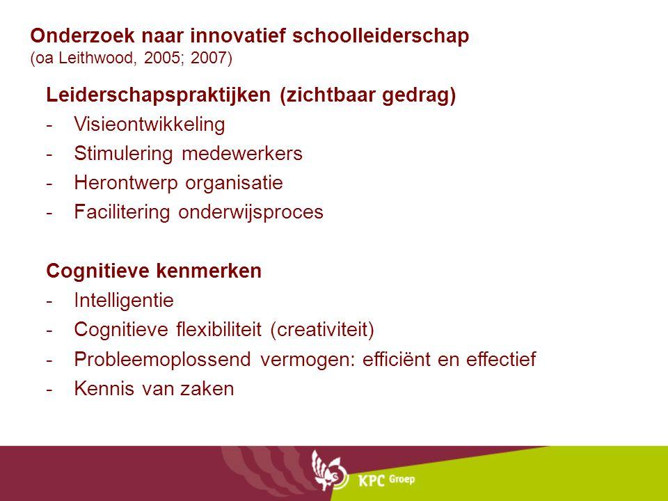 Onderzoek naar innovatief schoolleiderschap (oa Leithwood, 2005; 2007)