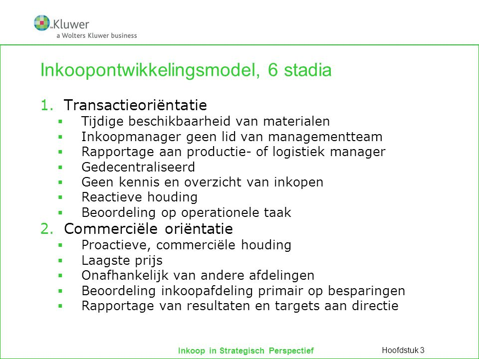 Inkoopontwikkelingsmodel, 6 stadia