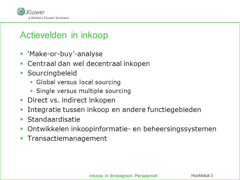Actievelden in inkoop 'Make-or-buy'-analyse