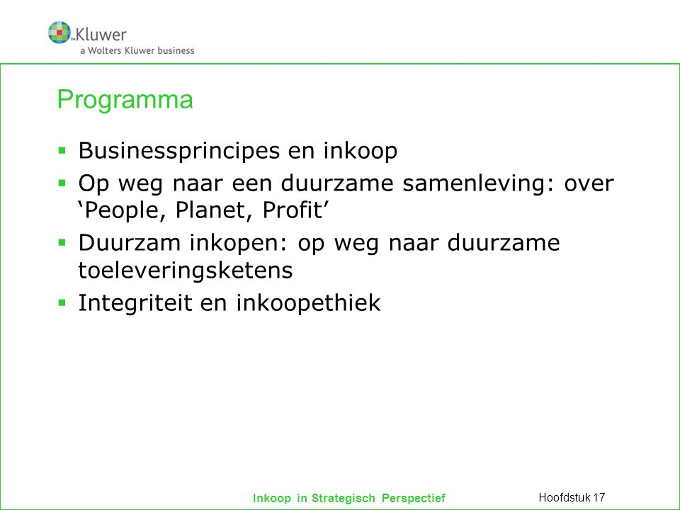 Programma Businessprincipes en inkoop