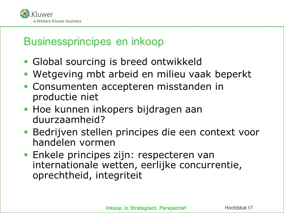 Businessprincipes en inkoop