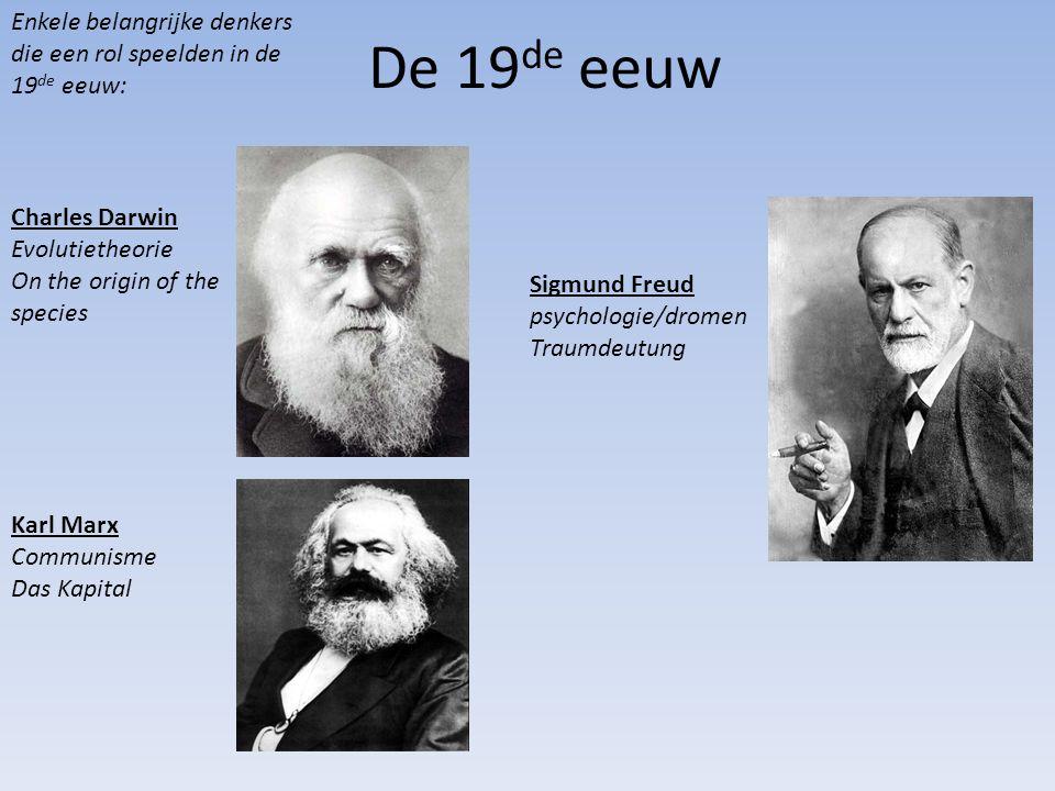 Enkele belangrijke denkers die een rol speelden in de 19de eeuw: