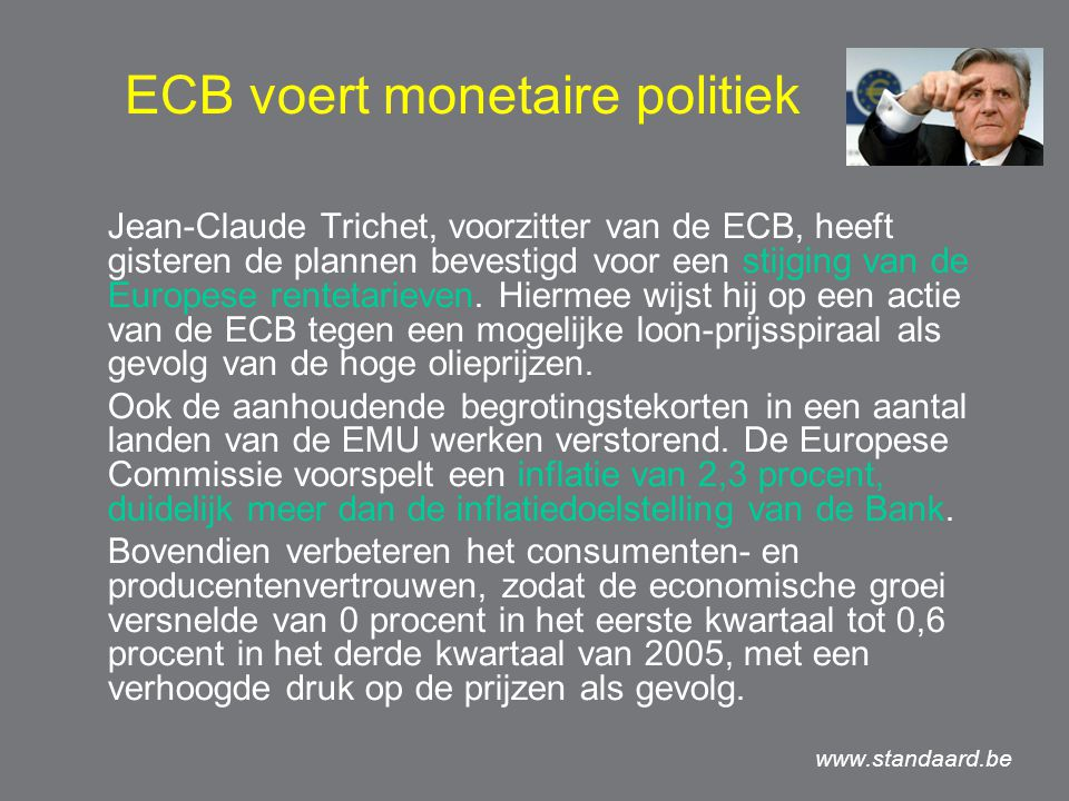ECB voert monetaire politiek