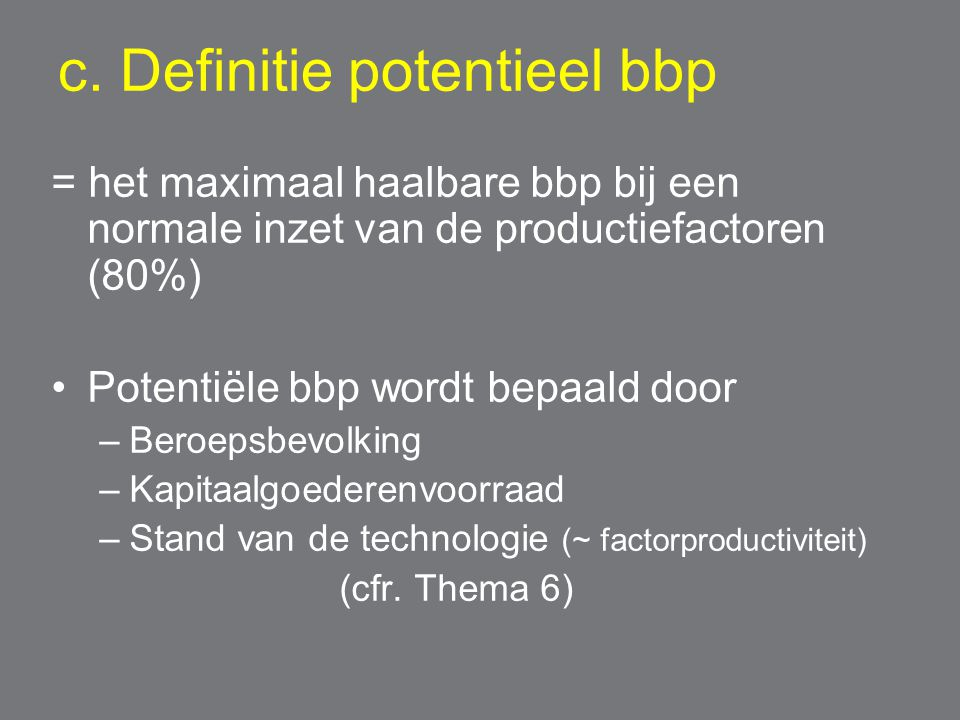 c. Definitie potentieel bbp