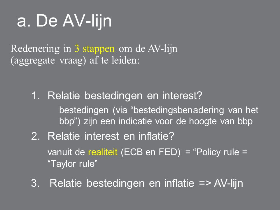 a. De AV-lijn Redenering in 3 stappen om de AV-lijn (aggregate vraag) af te leiden: Relatie bestedingen en interest