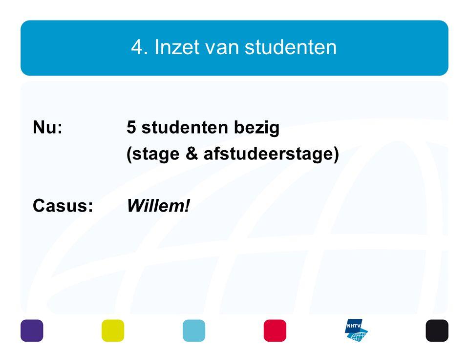 4. Inzet van studenten Nu: 5 studenten bezig (stage & afstudeerstage)