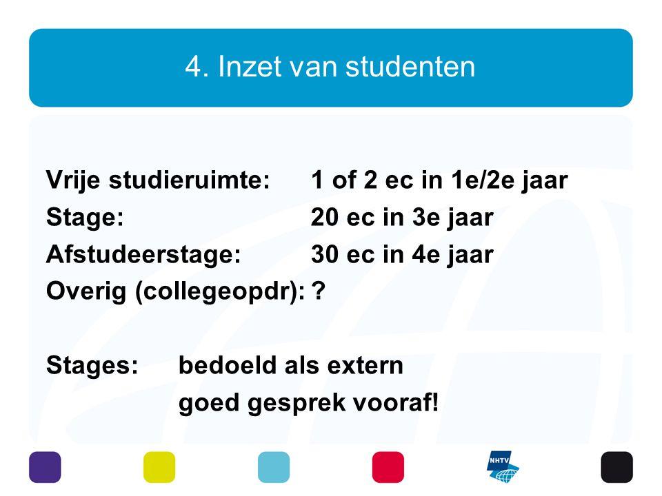 4. Inzet van studenten Vrije studieruimte: 1 of 2 ec in 1e/2e jaar