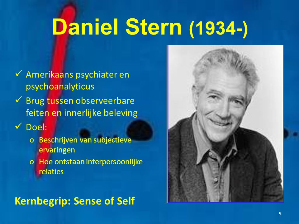 Daniel Stern (1934-) Kernbegrip: Sense of Self