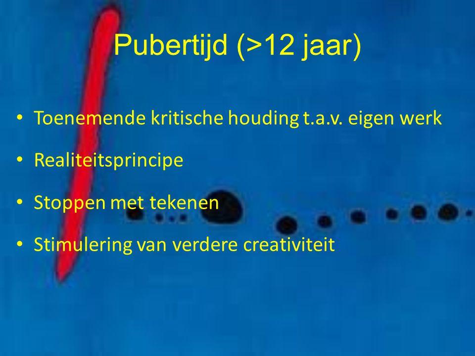 Pubertijd (>12 jaar) Toenemende kritische houding t.a.v. eigen werk