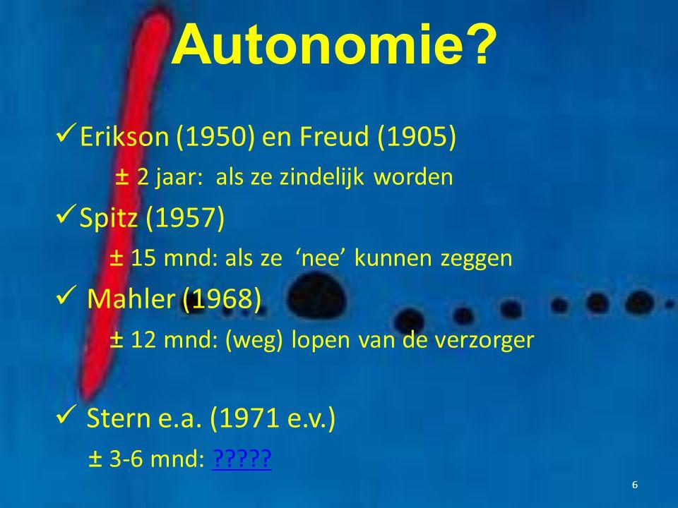 Autonomie Erikson (1950) en Freud (1905) Spitz (1957) Mahler (1968)