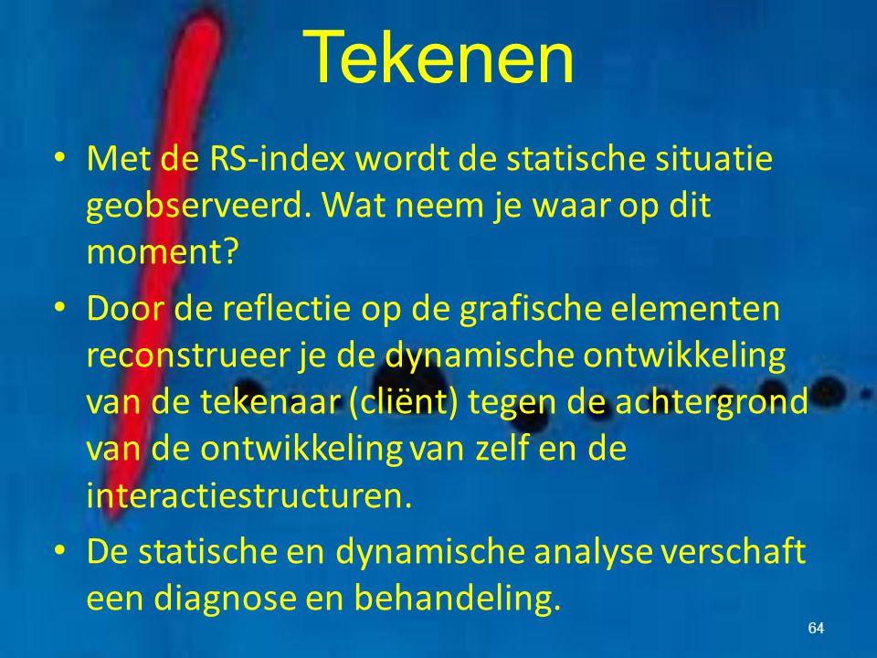 Tekenen Met de RS-index wordt de statische situatie geobserveerd. Wat neem je waar op dit moment