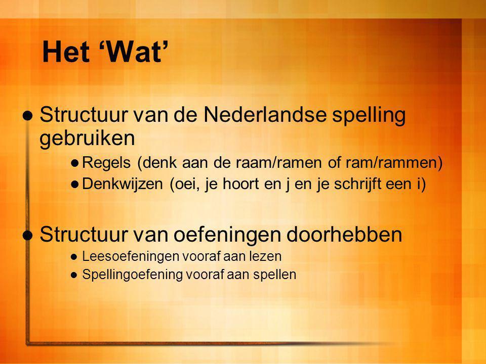 Het 'Wat' Structuur van de Nederlandse spelling gebruiken