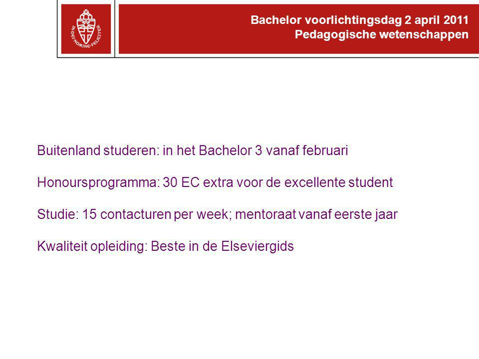 Buitenland studeren: in het Bachelor 3 vanaf februari