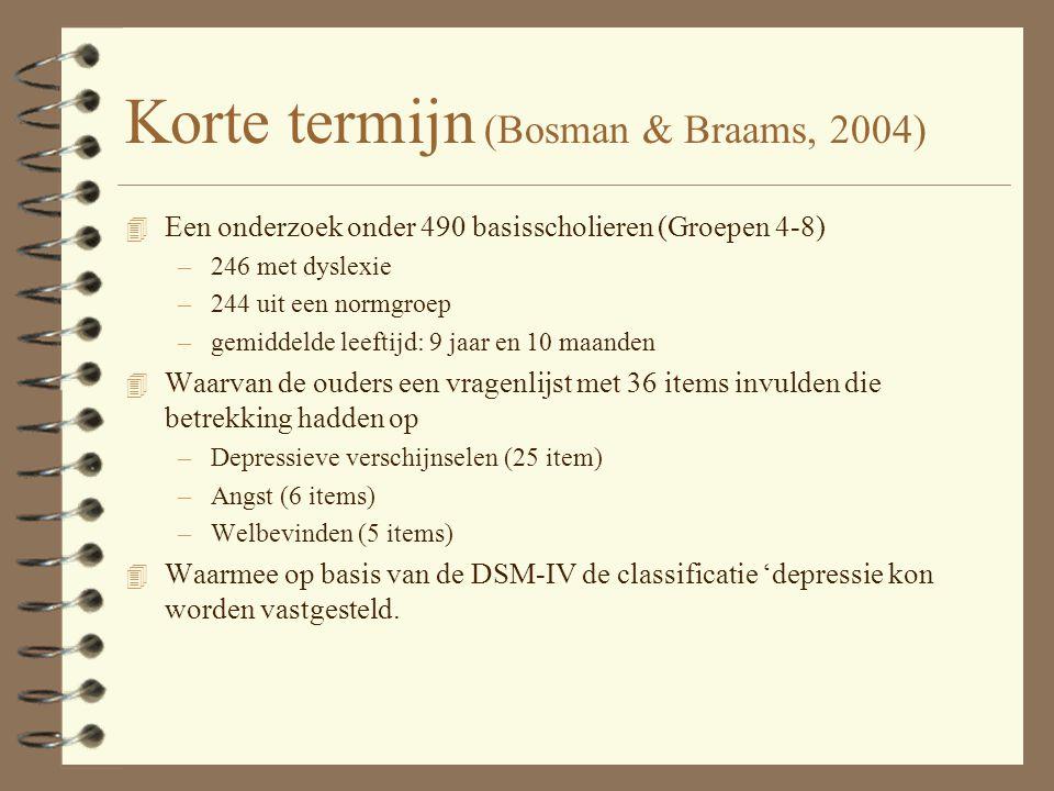 Korte termijn (Bosman & Braams, 2004)