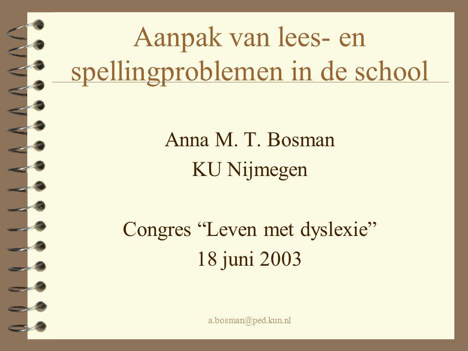 Aanpak van lees- en spellingproblemen in de school