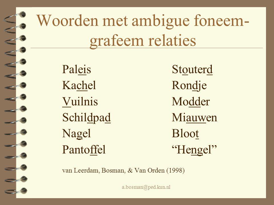 Woorden met ambigue foneem-grafeem relaties