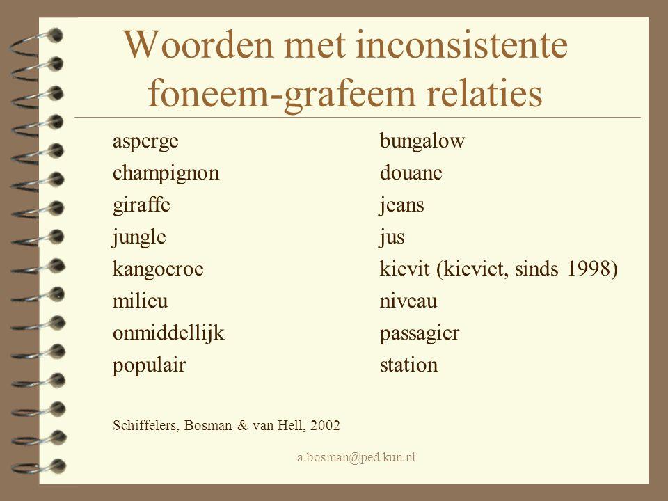 Woorden met inconsistente foneem-grafeem relaties