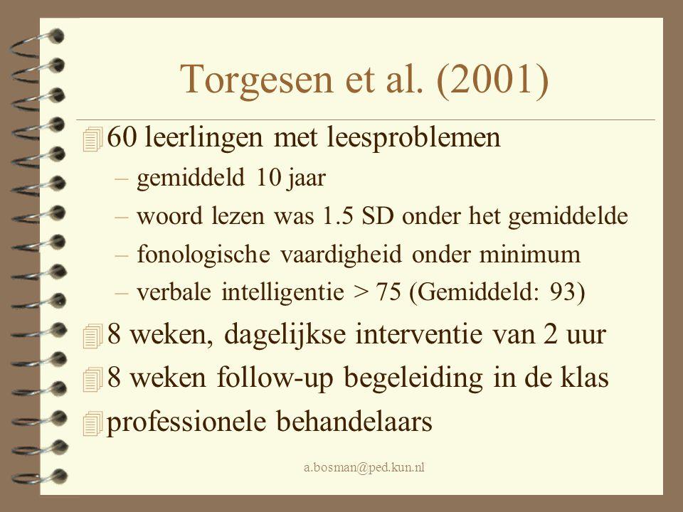 Torgesen et al. (2001) 60 leerlingen met leesproblemen