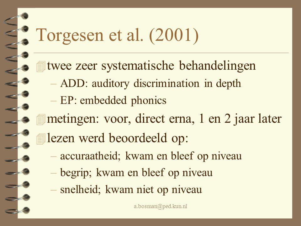Torgesen et al. (2001) twee zeer systematische behandelingen