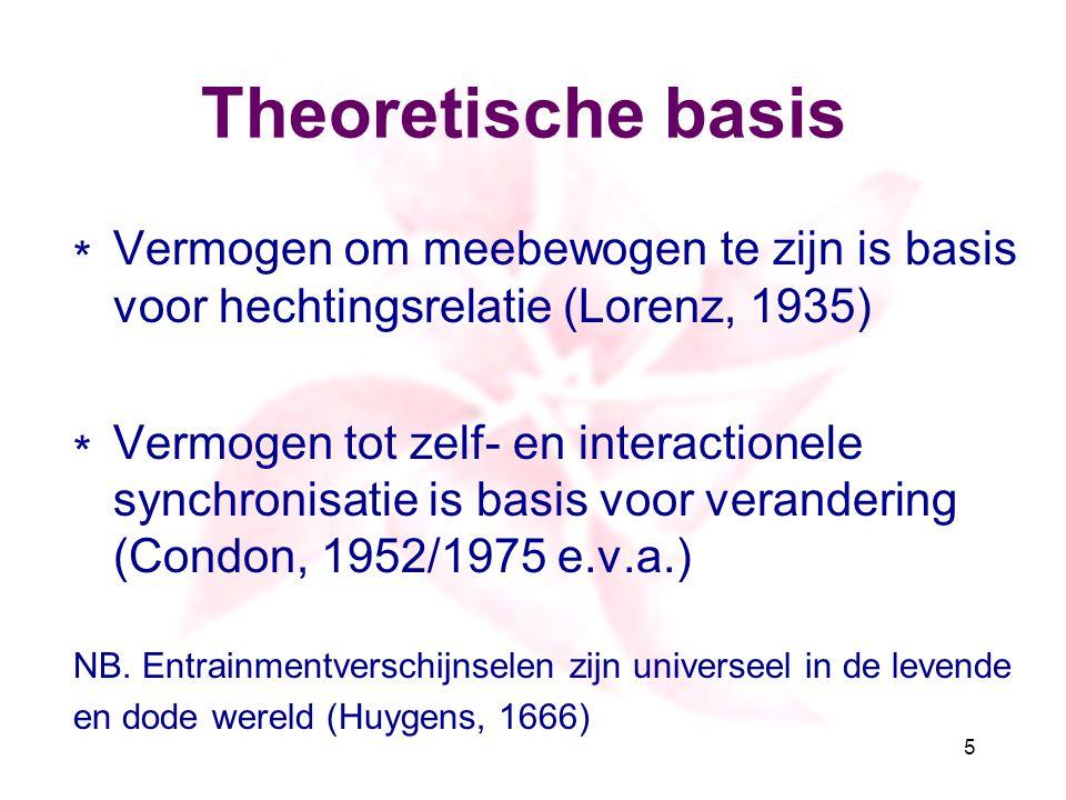 Theoretische basis Vermogen om meebewogen te zijn is basis voor hechtingsrelatie (Lorenz, 1935)