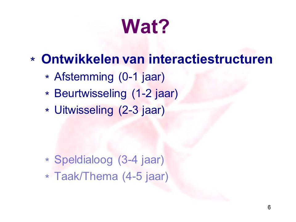 Wat Ontwikkelen van interactiestructuren Afstemming (0-1 jaar)