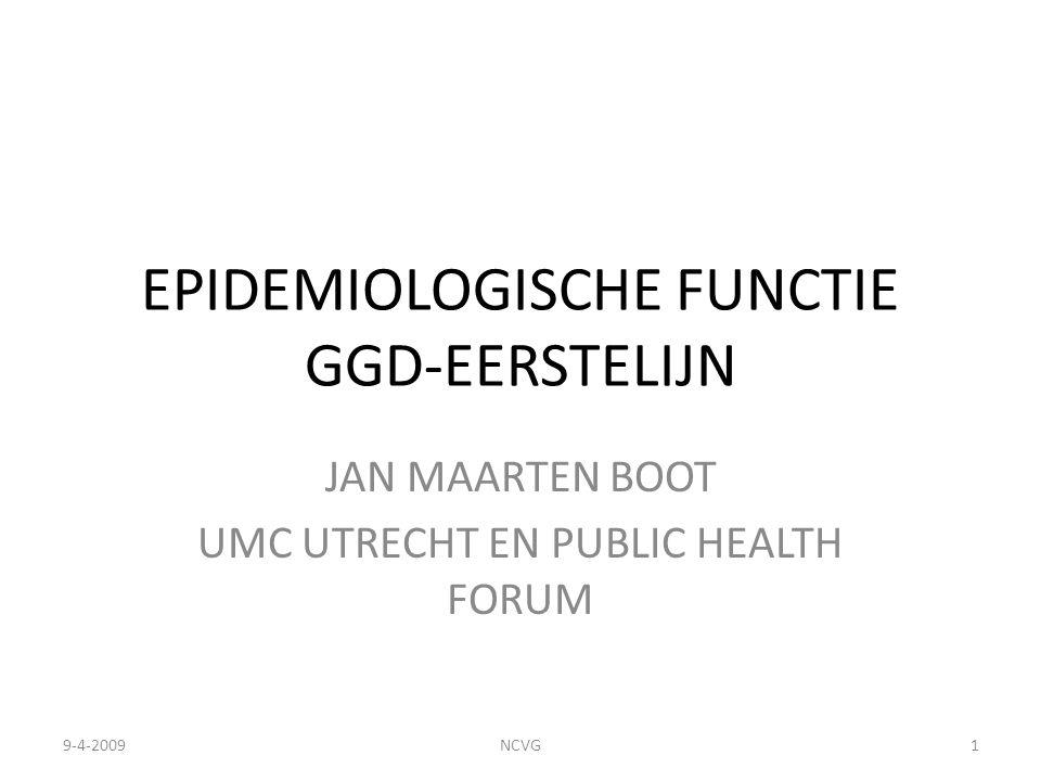 EPIDEMIOLOGISCHE FUNCTIE GGD-EERSTELIJN