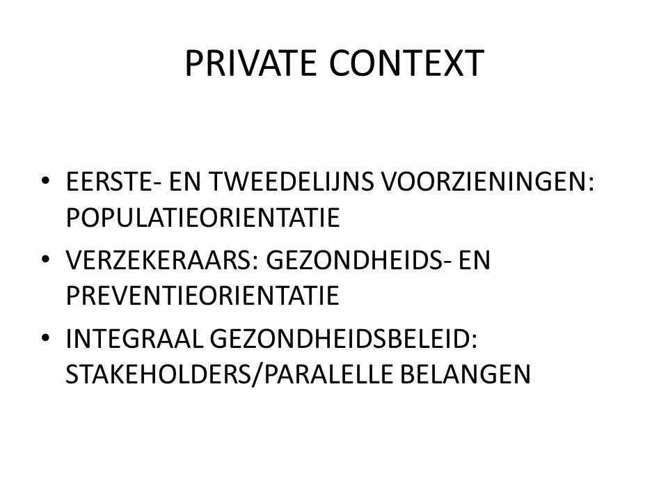 PRIVATE CONTEXT EERSTE- EN TWEEDELIJNS VOORZIENINGEN: POPULATIEORIENTATIE. VERZEKERAARS: GEZONDHEIDS- EN PREVENTIEORIENTATIE.