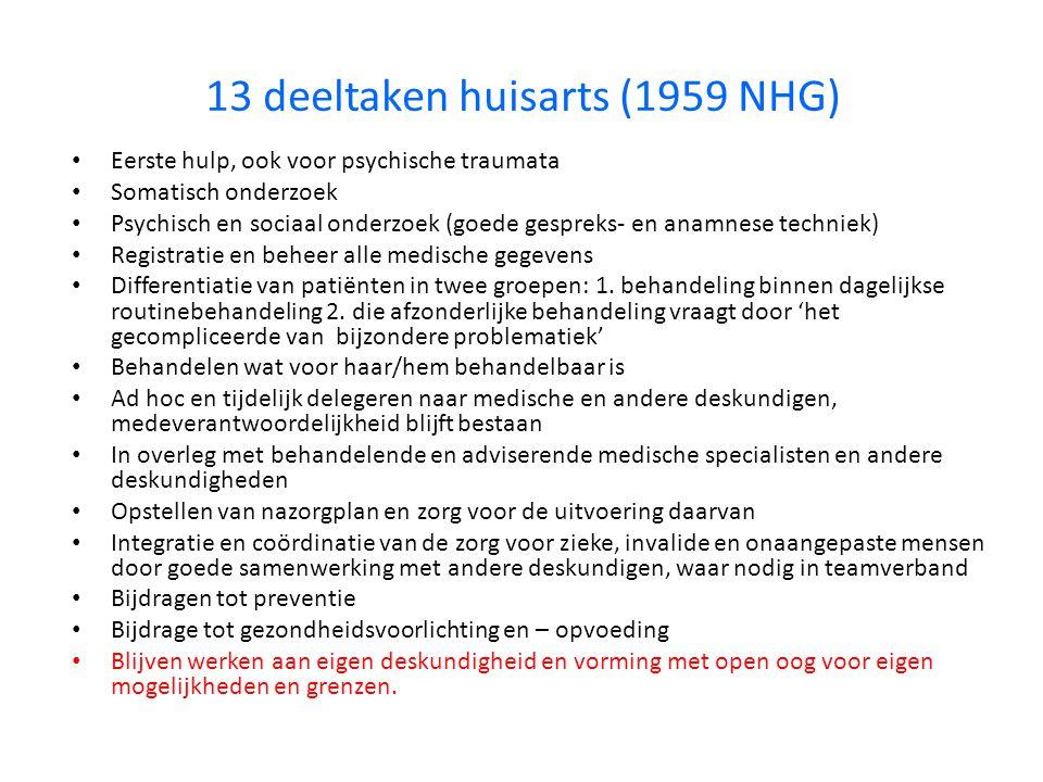 13 deeltaken huisarts (1959 NHG)