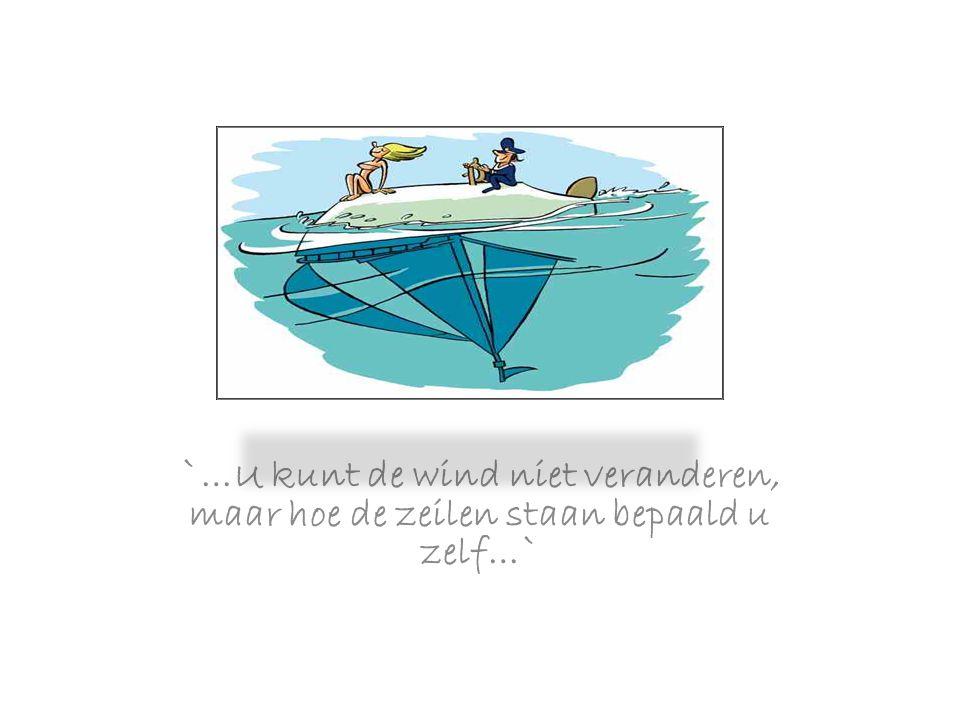 `…U kunt de wind niet veranderen, maar hoe de zeilen staan bepaald u zelf…`