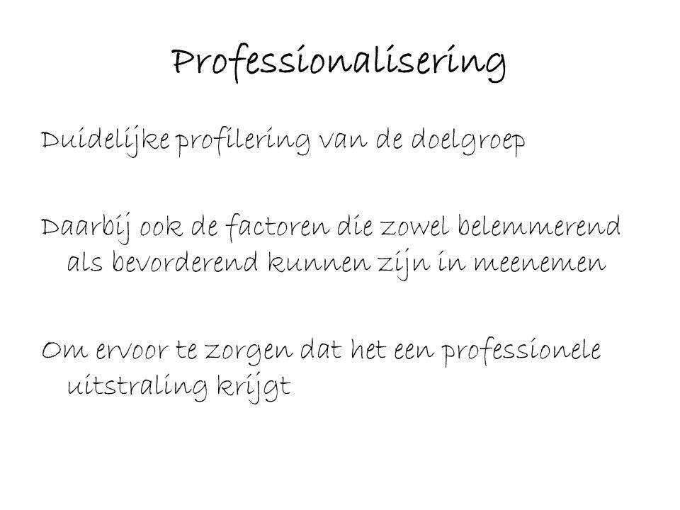 Professionalisering Duidelijke profilering van de doelgroep