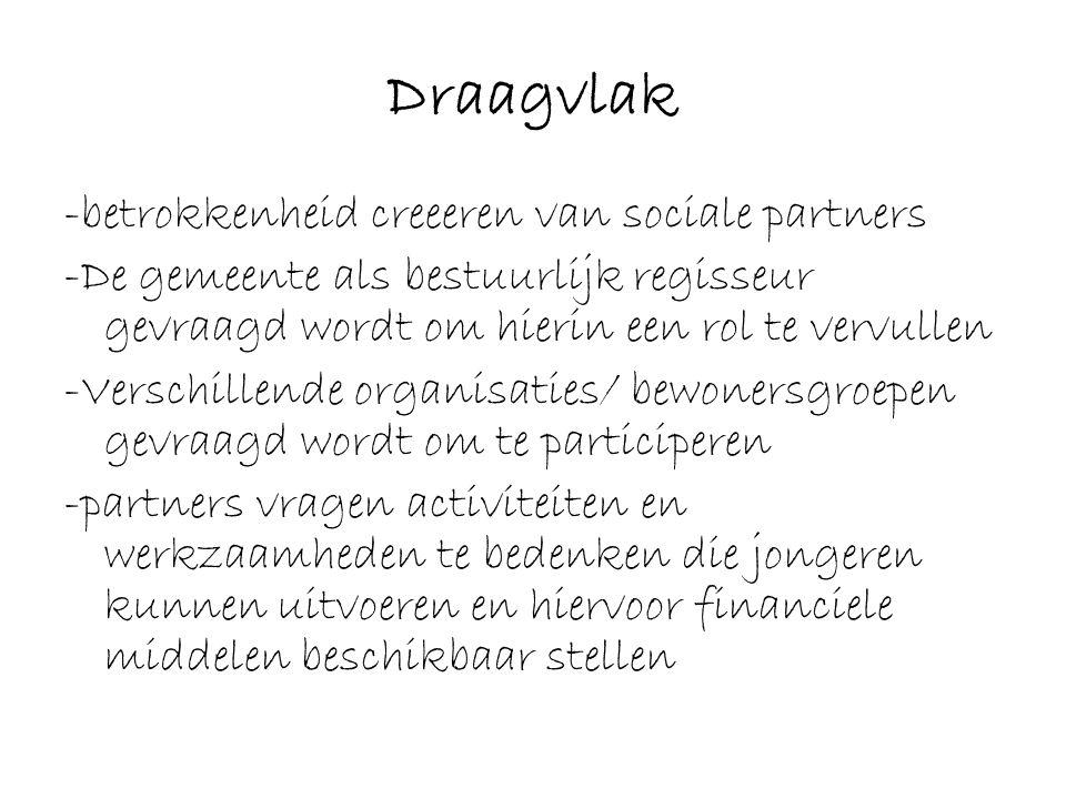 Draagvlak -betrokkenheid creeeren van sociale partners