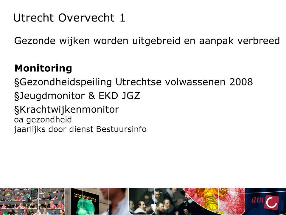 Utrecht Overvecht 1 Gezonde wijken worden uitgebreid en aanpak verbreed. Monitoring. Gezondheidspeiling Utrechtse volwassenen 2008.
