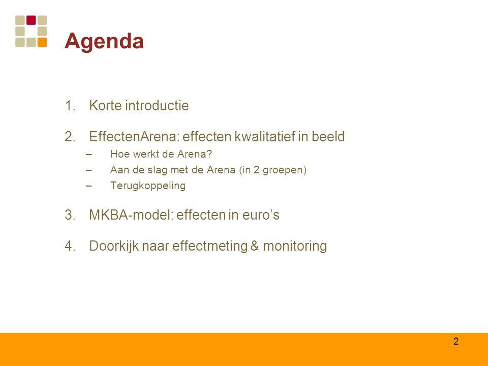 Agenda Korte introductie EffectenArena: effecten kwalitatief in beeld
