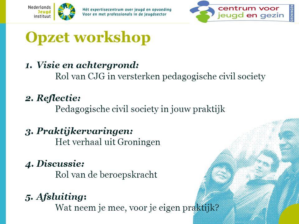 Opzet workshop Visie en achtergrond: