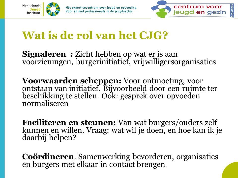 Wat is de rol van het CJG Signaleren : Zicht hebben op wat er is aan voorzieningen, burgerinitiatief, vrijwilligersorganisaties.