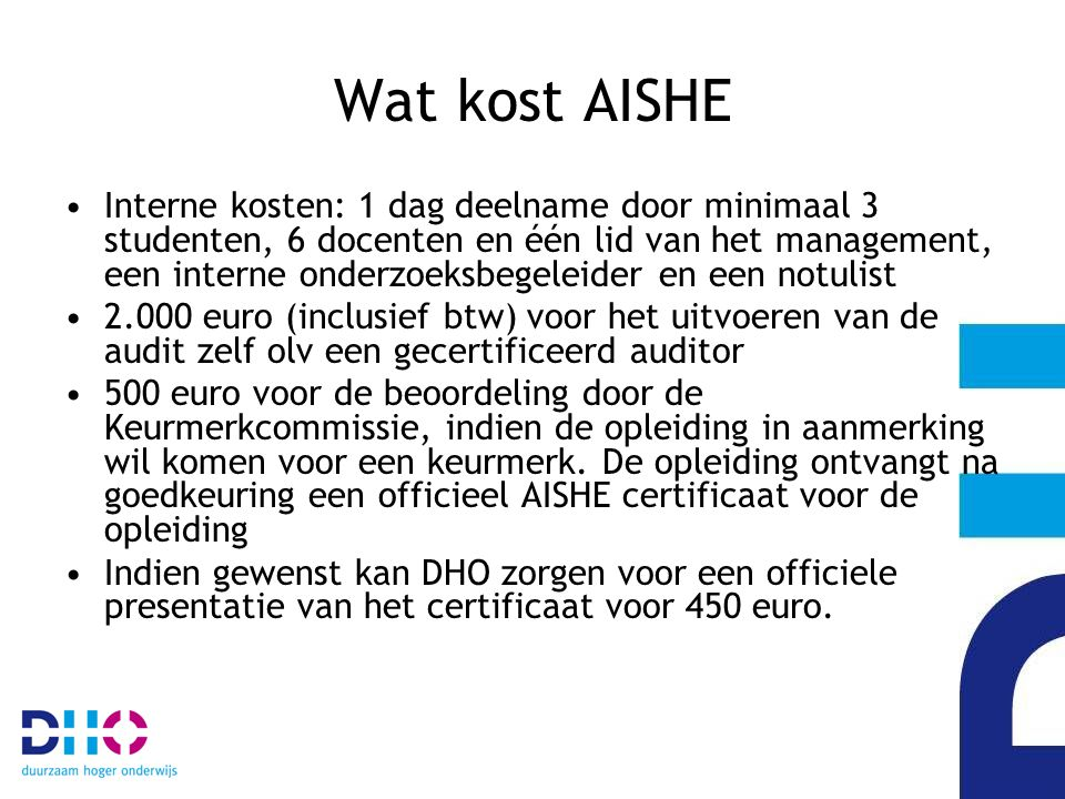 Wat kost AISHE