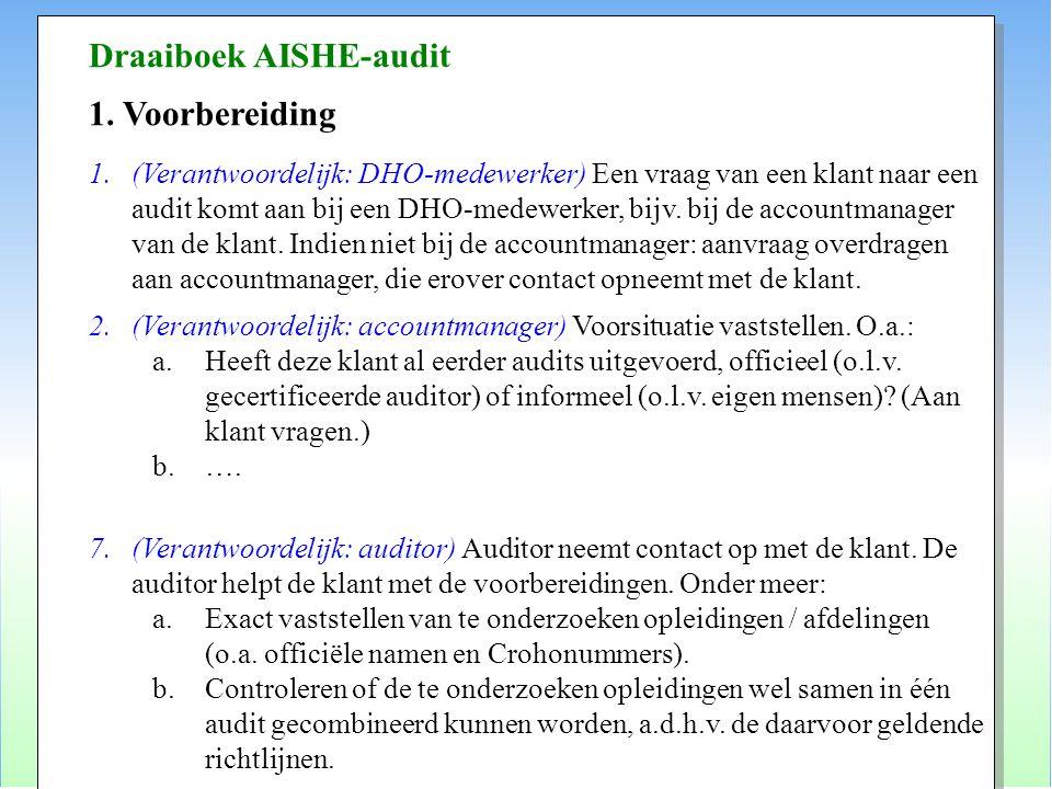 Draaiboek AISHE-audit 1. Voorbereiding