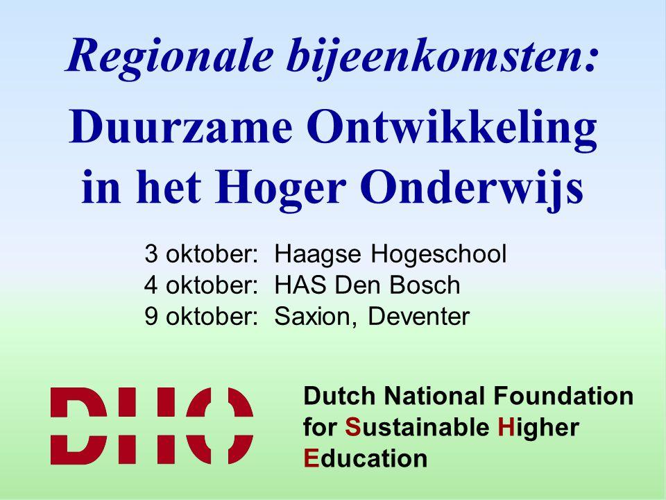 Regionale bijeenkomsten: Duurzame Ontwikkeling in het Hoger Onderwijs