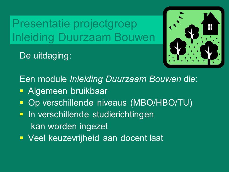 Presentatie projectgroep Inleiding Duurzaam Bouwen