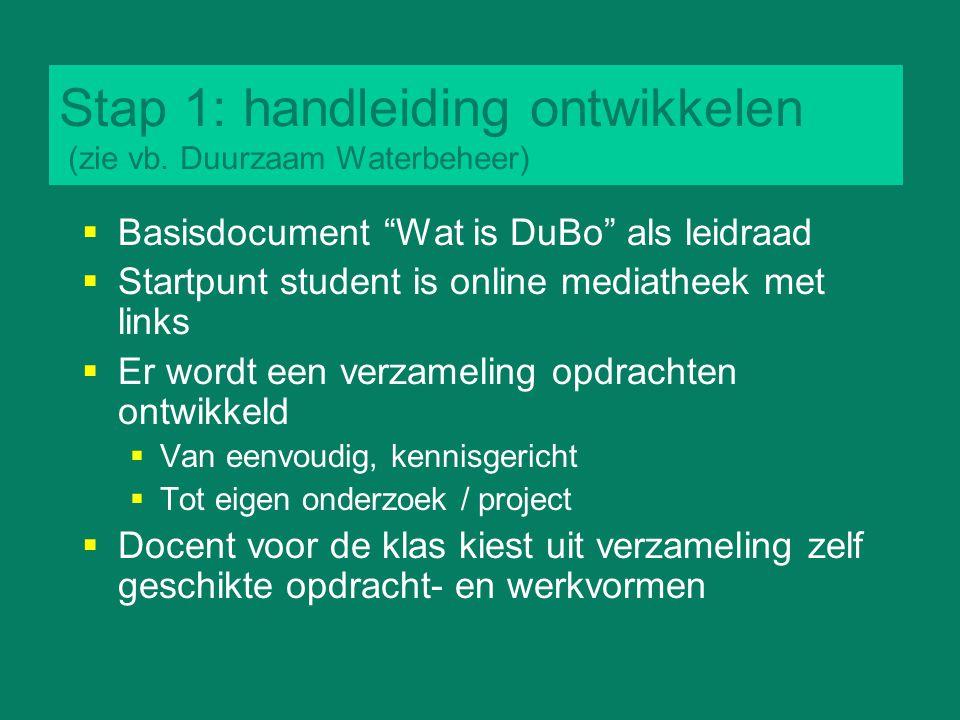 Stap 1: handleiding ontwikkelen (zie vb. Duurzaam Waterbeheer)