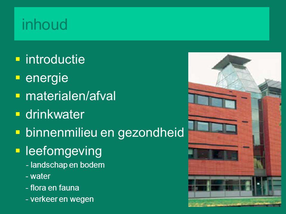 inhoud introductie energie materialen/afval drinkwater