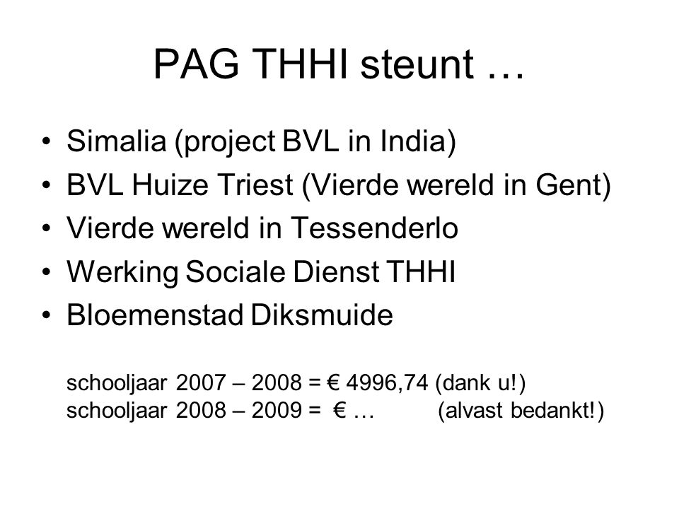 PAG THHI steunt … Simalia (project BVL in India)