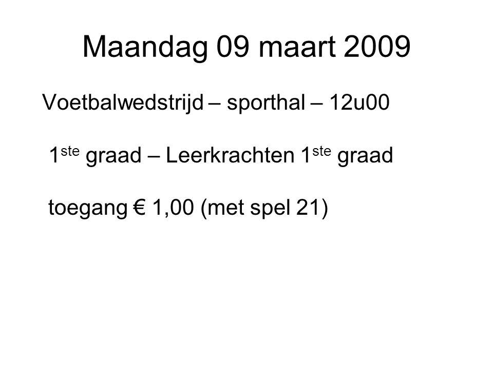 Maandag 09 maart 2009 Voetbalwedstrijd – sporthal – 12u00 1ste graad – Leerkrachten 1ste graad toegang € 1,00 (met spel 21)